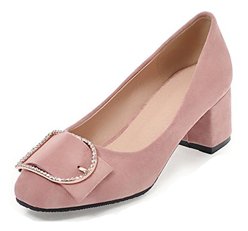 Aisun Comfort Donna Strass Low Cut Squadrato Tor Dressy Block Tacco Medio Slip On Pumps Scarpe Rosa