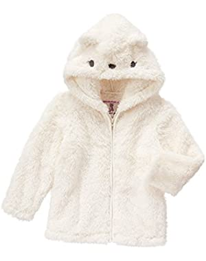 Toddler Girls' White Polar Cub Faux Fur Hoodie