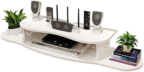 ローボード ケーブルホワイトのためのテレビのコンポーネントウォールシェルフウォール用テレビキャビネットストレージシェルフを取り付けられた浮動メディアコンソールストレージラック2ティア (Color : 白, Size : 80*19*11cm)