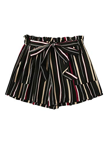 Floerns Women's Plus Size Shorts Summer Striped High Waisted Shorts with Pockets Multi-1 3XL