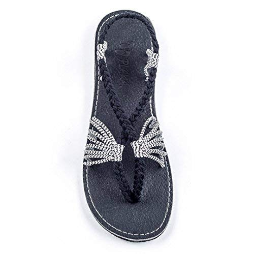 Plaka Flat Summer Sandals for Women Black Zebra 10 Seashell ()