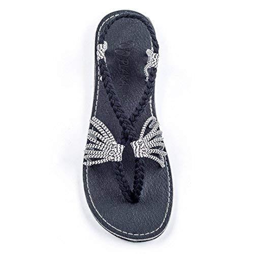 (Plaka Flat Summer Sandals for Women Black Zebra 10 Seashell )