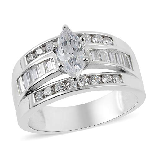925 Sterling Silver Marquise Cubic Zirconia CZ 3 Row Band Ring for Women Jewelry Gift Size 6 Cttw 2.9