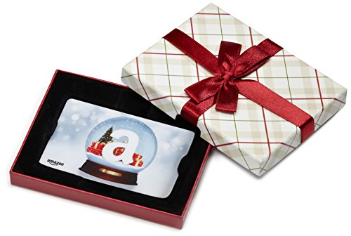 Large Product Image of Amazon.com Gift Card in a Plaid Gift Box (Holiday Globe Card Design)