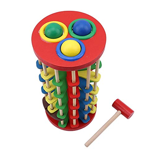 (Best Quality - Blocks - Hot Selling Creative Pound and Roll Wooden Tower with Hammer Knock The Ball Rolling Off Ladder Early Education Baby Toys - by Viet SF - 1 Pcs - 3D Wood Blocks)
