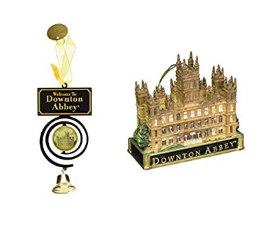 "Kurt Adler Downton Abbey ""welcome To Downton Abbey"" Pull Bell And Castle Ornaments (set of 2)"