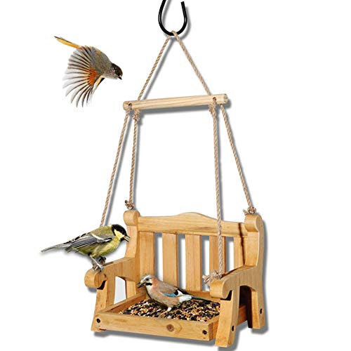Wellucky Pine Swing Chair Bird Feeder, Wooden Bird Feeder Squirrel Proof Hanging for Outsides
