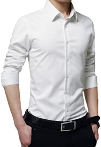 メンズ 長袖 ワイシャツ 大きいサイズ ビジネス カジュアル スリム 無地 形態安定 シャツ