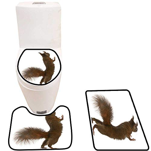 3 Piece Shower Mat Set eurasi re Squirrel on hin Legs Sciurus vulgaris Years Pattern Rug Set -  Youdeem-tablecloth