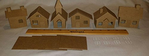 Mini Village Houses with Church - Set of 6 Putz Style Cardboard Houses with Small Light Hole Small Chipboard House