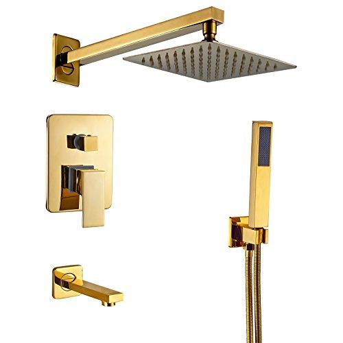 Rozin Gold Color 3-way Diverter Shower Kit 8-inch Rainfal Showerhead + Tub Faucet + Handheld Spray