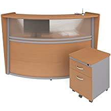 OFM Marque Series Plexi Single-Unit Curved Reception Station - Office Furniture Receptionist/Secretary Desk with Maple Pedestal (PKG-55310-MPL)