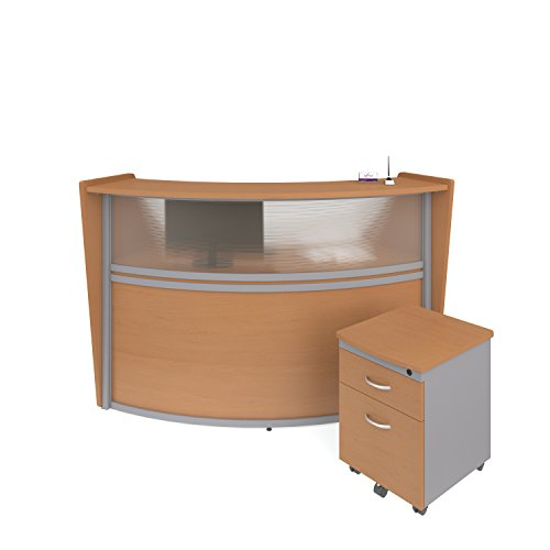 OFM Marque Series Plexi Single-Unit Curved Reception Station - Office Furniture Receptionist/Secretary Desk with Maple Pedestal (PKG-55310-MPL)