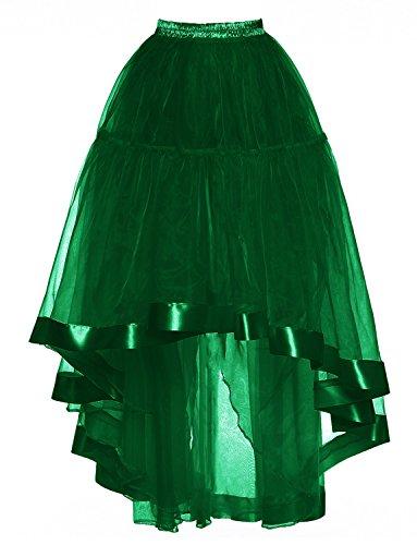 longue en des rtro Fonc DYSS Jupon Robe Bas Vert Jupe organza translucide Haut annes 50 Femmes HwSExSq7