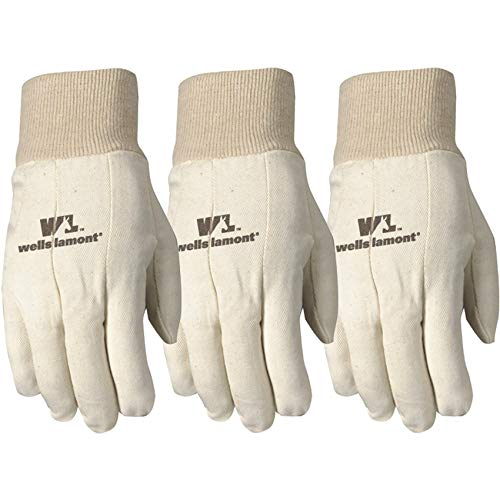 Poly Cotton Canvas Gloves - Wells Lamont Canvas Work Gloves, Standard Weight, Wearpower, Large, 3 Pack (48LF)