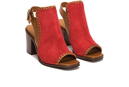 Frye 3479974 Femmes Charlize Bouclier Wedge Sandale Rouge / Whisky
