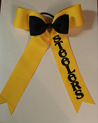 Steelers Football Cheer Bow - Steelers hair accessories by Artsy Ann Shop