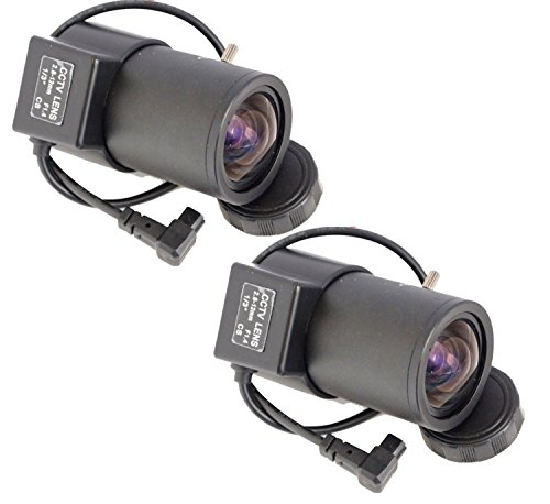Evertech 2 Pcs 2.8-12mm Manual Zoom Varifocal Adjustable Wide Angle Auto Iris CCTV Lens for Box Security Cameras