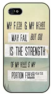 iPhone 4 / 4s Bible Verse - My flesh and my hear may fail, but God is the strenght of my heart. Psalm 73:26 - black plastic case / Verses, Inspirational and Motivational