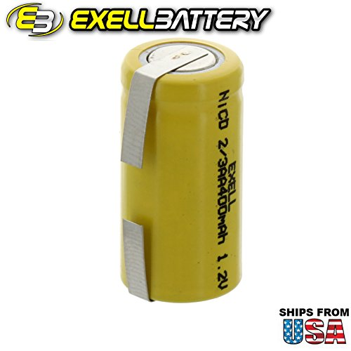 Exell 2/3AA 1.2V 400mAh NiCD Rechargeable Battery with Tabs for meters, radios, hybrid automobiles, high power static applications (Telecoms, UPS and Smart grid), radio controlled devices