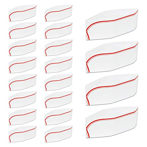 Witkey 20 Pieces Disposable Paper Chef Hat Soda Jerk Paper Hats Food Server Cap Retro Diner Food Server Caps with Red Strips for Classic Theme Restaurant Party