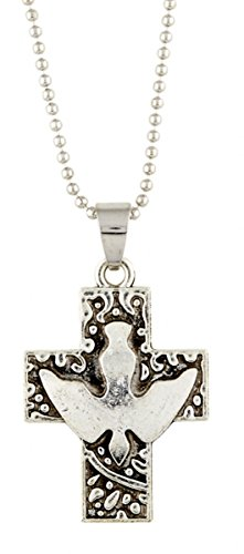 SIlver Tone Confirmation Holy Dove Cross Religious Pendant, 1 1/2 Inch