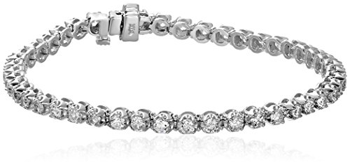 14k White Gold Diamond Miracle Plate Tennis Bracelet  (3 cttw, K-L Color, I1-I2 Clarity), 7'' by Amazon Collection