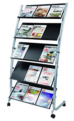 Alba Large Mobile Literature Display, 5 Levels, Metallic Gray and Black (DD5GM)