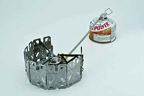 Snow Peak GeoShield Stove, GS-360-US, Stainless Steel, Lightweight, Built-in Windscreen, Collapsible for Backpacking and Camping, Designed in Japan, Lifetime Product Guarantee