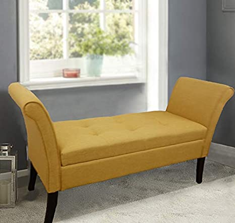 Cool Homeharmony Wentworth Easy To Assemble Linen Look Window Seat Ottoman Storage Bed End Sofa Bench Ochre Machost Co Dining Chair Design Ideas Machostcouk