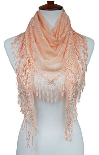 (Cindy & Wendy Lightweight Triangle Floral Fashion Lace Fringe Scarf Wrap for Women (ROSE PINK-8XH))