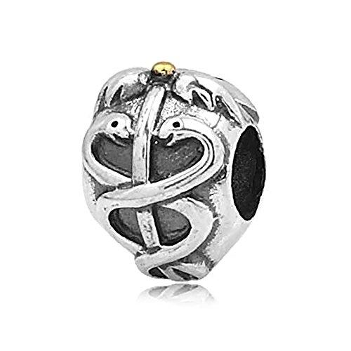 (Everbling Caduceus Life Saver 925 Sterling Silver Charm Fits European Charm Bracelet)
