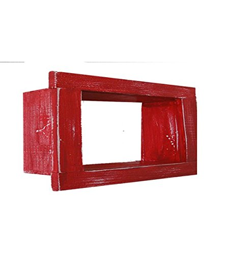 Wood / Wooden Shadow Box Display - 9'' x 6'' - Red - Decorative Reclaimed Distressed Vintage Appeal by IGC