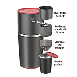Themoemoe Manual Coffee Grinder and Bonus Portable Coffee Brewer - Unique Manual Ceramic Burr Coffee Grinder that Can Also Brew (Black)