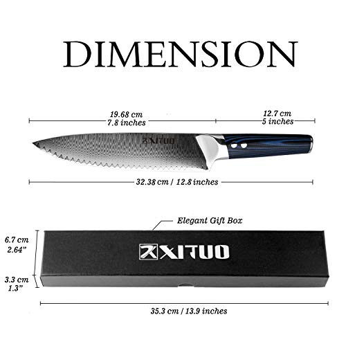 XITUO 8-inch Chef Knife Japanese VG 10 High Carbon Damascus Stainless Steel Kitchen Knife with Ergonomic Micarta Handle and Razor Sharp Blade For Dealing Meat, Fruits and Vegetables by XITUO (Image #3)