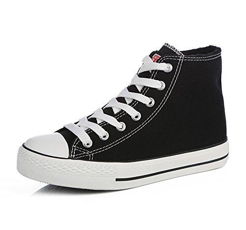 Sfnld Heren Dames Fleece Gevoerde Herfst Winter Canvas Schoenen Sneaker Zwart