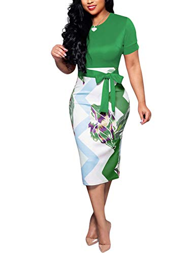 Women' Short Sleeve Bodycon Dress -Cute Bowknot Floral Pencil Dress Large Green ()