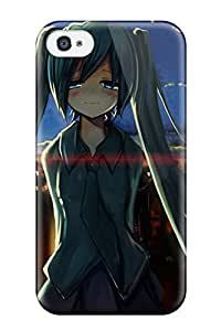 DanRobertse Case Cover For Iphone 4/4s - Retailer Packaging Clouds Vocaloid Hatsune Miku Blue Lens Flare School Uniforms Schoolgirls Tieoutdoors Buildings Greensunlight Twintails Blush Shirts Cities Bangs Skies Protective Case