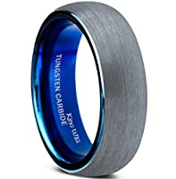 King Will 7mm Blue Domed Tungsten Carbide Wedding Band Ring Brushed Polish Finished Comfort Fit