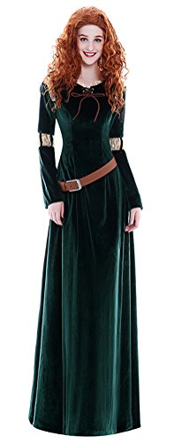 COSKING Princess Merida Costume for Women, Deluxe Halloween Cosplay Dress Long (XX-Large)]()