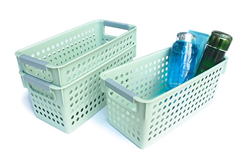 (Honla Slim Green Plastic Storage Baskets/Bins Organizer with Gray Handles,Set of 3)