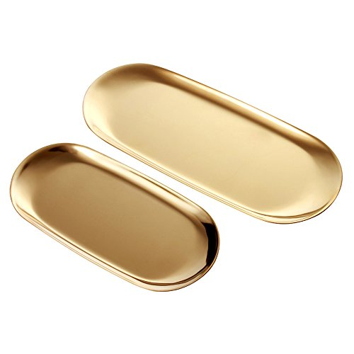 2 Sets Gold Oval Stainless Steel Trinket Tray,Towel Storage Dish Plate Tea Fruit Trays Cosmetics Jewelry Plate – 2 ()