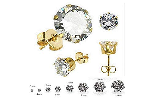 SouthMineral Oval Hypoallergenic Stud 18k Yellow Gold Plated Small 4MM Earring Crystal Zircon CZ Push Back