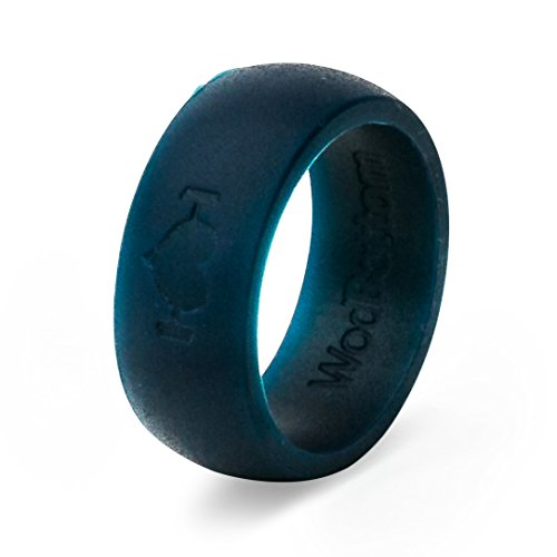 Silicone Wedding Rings for Men, Silicone Rings Perfect for Crossfit, Wods, Sports, Outdoors. Replace Your Wedding Band with a Hypoallergenic, Medical Grade Silicone Wedding Ring. (Navy Blue, 8)