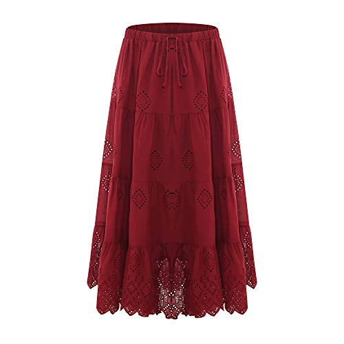 (Love Welove Fashion Women's Solid Cotton Embroidered Tiered Flare A-line Ankle Length with Lining Maxi Skirt (S,)