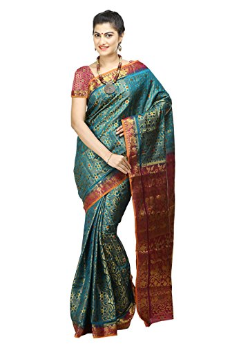 Mimosa Women's Art Kanchipuram Silk Sarre with -