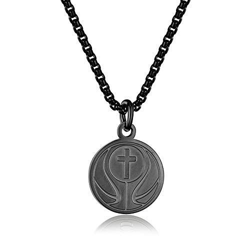 INRENG Athletes Sports Cross Pendant Necklace for Men Women Faith Prayer Inspiring Luke 1:37 Bible Verse on Back Basketball Charm Black ()