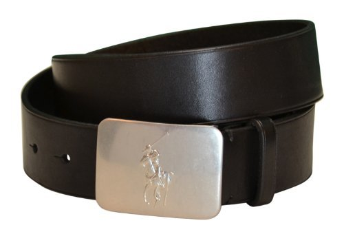 Ralph Lauren Plaque Belt (Men's Polo Ralph Lauren Pony Plaque Leather Belt-Black (42))