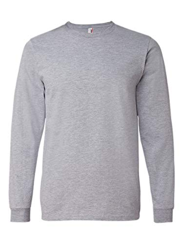 Anvil 949 Adult Lightweight Long Sleeve T-Shirt, Heather Grey, Large