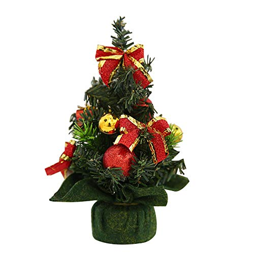 (Aolvo Mini Artificial Christmas Tree 2018 New, 7.87in/20 cm Christmas Pine Tree with The Burlap Base and Multicolored Floral and Gold Ornaments for Festival Xmas Party Home Decoration)